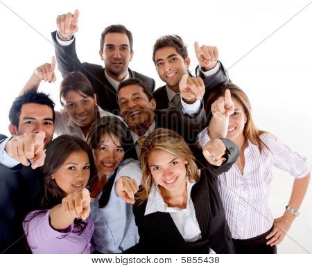 Business People Pointing At The Camera