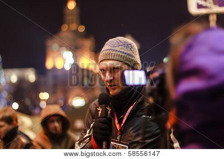 Kiev (kyiv), Ukraine - December 4, 2013: Unidentified Journalist Makes Report With Protesters. Hundr