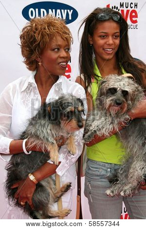 BEVERLY HILLS - APRIL 29: Alfre Woodard and guest at the Old Navy Nationwide Search for a New Canine Mascot at Franklin Canyon Park on April 29, 2006 in Beverly Hills, CA.
