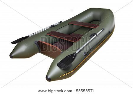 Inflatable Rubber Boat Made Of Pvc, Green, Double, With Oars.