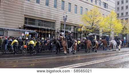 Riot Police on Horses and Bikes