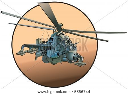 Vector cartoon helicopter