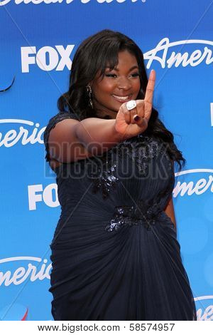 Candice Glover at the American Idol Season 12 Finale Arrivals, Nokia Theater, Los Angeles, CA 05-16-13