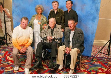 Nichelle Nichols, Walter Koenig, George Takei, William Shatner, James Doohan, Leonard Nimoy  at the James Doohan Farewell Star Trek Tribute at the Renaissance Hollywood Hotel,Hollywood, CA. 08-29-04