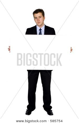 Business Man Holding Banner