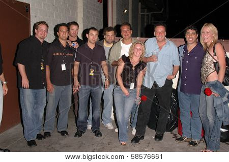 K.C. Armstrong, Artie Lange, Nick Di Paolo, Reverend Bob Levy, Gary Dell'Abate and clients at the FM Talk Brew Ha Ha comedy show in Agoura Hills, CA 06-12-04