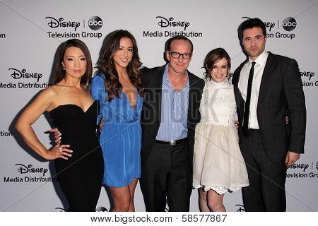 Ming-Na Wen, Chloe Bennet, Clark Gregg, Elizabeth Henstridge, Brett Dalton at the Disney Media Networks International Upfronts, Walt Disney Studios, Burbank, CA 05-19-13