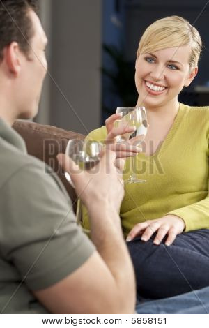 Beautiful Woman On A Romantic Date Drinking Glass Of Water