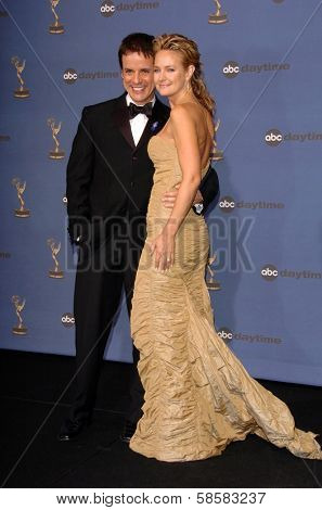 HOLLYWOOD - APRIL 28: Christian LeBlanc and Sharon Case in the press room at The 33rd Annual Daytime Emmy Awards at Kodak Theatre on April 28, 2006 in Hollywood, CA.