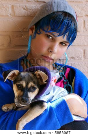 Blue Girl Holding Chihuahua