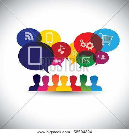 Icons Of Consumers Or Users Online In Social Media, Shopping - Vector Graphic