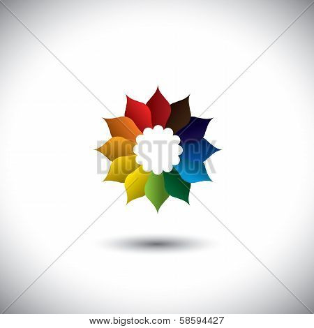 Vector Icon Of Beautiful Colorful Flower Petals In All Colors