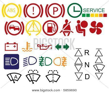 Car dashboard signs