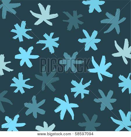 Snowflake Vector Background. Blue Brash Strokes