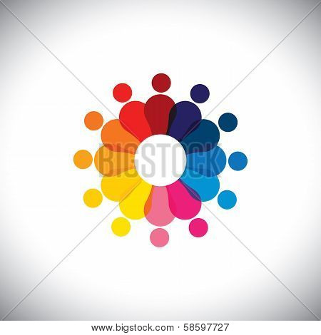 Abstract Colorful School Children In Circle Playing Together - Vector Graphic