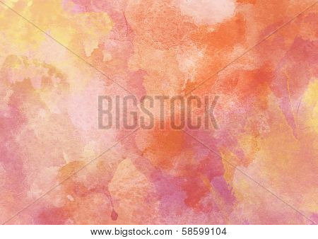Hot Orange Watercolor background.