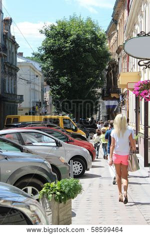 Street In Lvov With Parked Cars