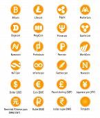 image of greed  - Different cryptocurrency and traditional currency vector symbols web icons - JPG