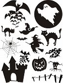 stock photo of halloween characters  - set of traditional halloween design elements - JPG