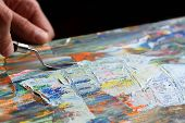 picture of expressionism  - Art painting with palette knife in the art studio - JPG