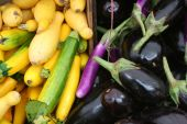 stock photo of farmers market vegetables  - Locally grown produce (zucchini and eggplant) at a farmer