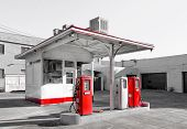 foto of gasoline station  - Empty Urban Vintage Gasoline Station in the United States - JPG