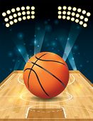 stock photo of basketball  - An illustration of a basketball on a hardwood court - JPG