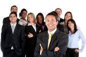 image of latin people  - Group of business people isolated over a white background - JPG