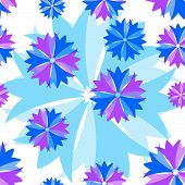 Floral blue-lilas seamless pattern (vector) poster