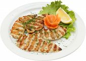 picture of testis  - Grilled chicken fillet and vegetables and herb for testy meat dish - JPG