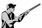 pic of trap  - Skeet trap sports people illustration vector art - JPG