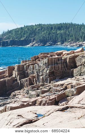 Cut Rock Shore On Maine Coast