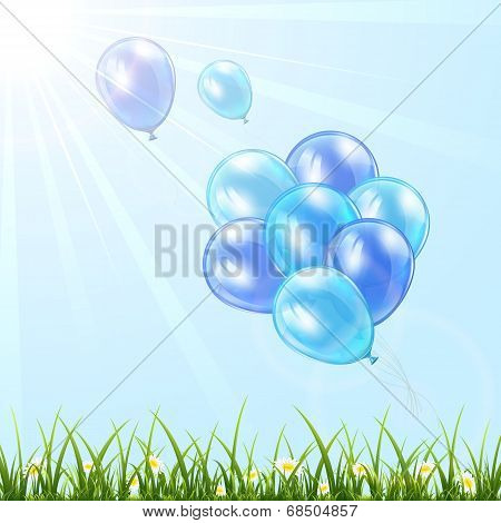 Blue Balloons In The Sky