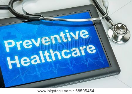 Tablet with the text Preventive Healthcare on the display