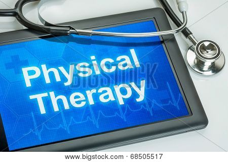 Tablet with the text Physical Therapy on the display