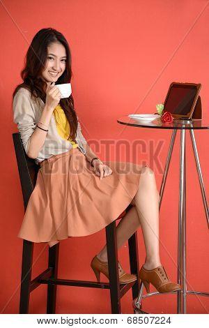 Asian Young Women Cute Woman Drinking Coffee