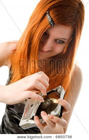 Red Haired Girl With Hard Drive