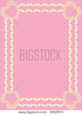 Vector Victorian Frame With Eyelet, Copy Space and Striped Hearts