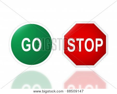 Road Signage Go And Stop