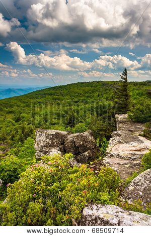 Boulders And View Of The Appalachian Mountains From Bear Rocks Preserve, Monongahela National Forest