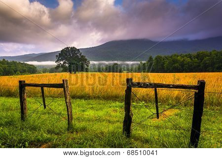 Fence And Low Clouds Over Mountains, At Cade's Cove, Great Smoky Mountains National Park, Tennessee.