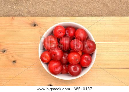 Red plums and shells