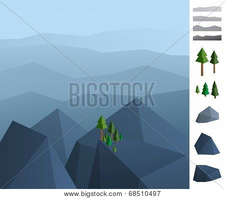 Simply Geometric Illustration Of Rock Mountains Landscape
