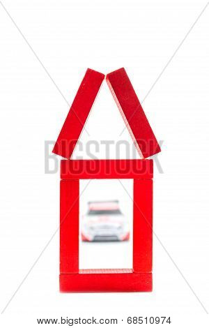 Red House Made Of Wooden Toy With Car