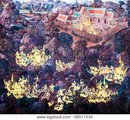Bangkok, Thailand - July  5: Thai Mural Paintings At Wat Phra Kaew On July 5, 2014 In Bangkok, Thail