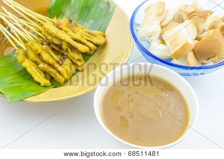 Pork Satay With Peanut Sauce And Toast