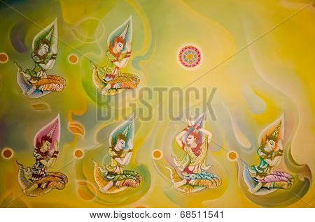 BANGKOK ,THAILAND - 9 JULY 2014 : masterpiece of traditional Thai mural  style paintingin on the wal
