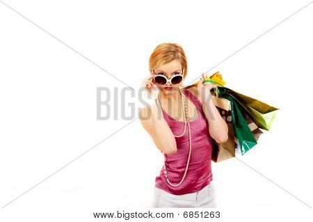 beautiful shopping woman with lots of  bags