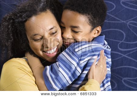 Woman Hugging Son