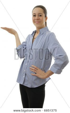 Business Woman With Hand Palm Up